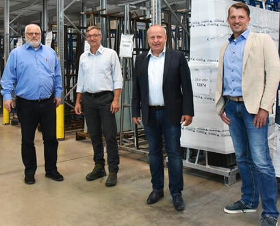 from left: Thomas Graf, Project Manager Semco; Norbert Gardemann, Project Manager A+W; Heiko Schuh, A+W Clarity Director Sales Central Europe; Marcus Lampen, IT Manager Semco.